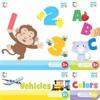 Smart Baby Set: Number, Alphabet,Colors, and Vehicles