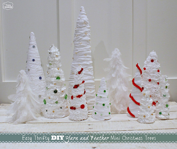 Easy-Thrifty-DIY-Yarn-and-Feather-Mini-Christmas-Trees-1024x862